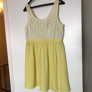 Yellow and white crochet dress